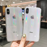 iPhone XS Max Rainbow Effect Hybrid Transparent Case