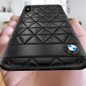 BMW ® iPhone X Series (3 in 1 Combo) Leather Texture Case + Tempered Glass + Camera Lens Guard