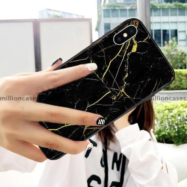 Luxury Marble Gold Dust Pattern Tempered Glass Case