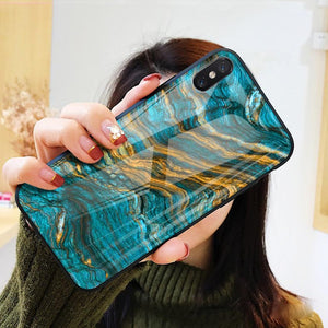 Luxury Marble Sea Pattern Tempered Glass Case