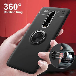 OnePlus 7 Pro (3 in 1 Combo) Metallic Ring Case + Tempered Glass + Earphones