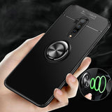 OnePlus 7T Pro (3 in 1 Combo) Metallic Ring Case + Tempered Glass + Earphones