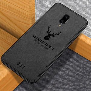 OnePlus 6T (3 in 1 Combo) Deer Case + Tempered Glass + Earphones
