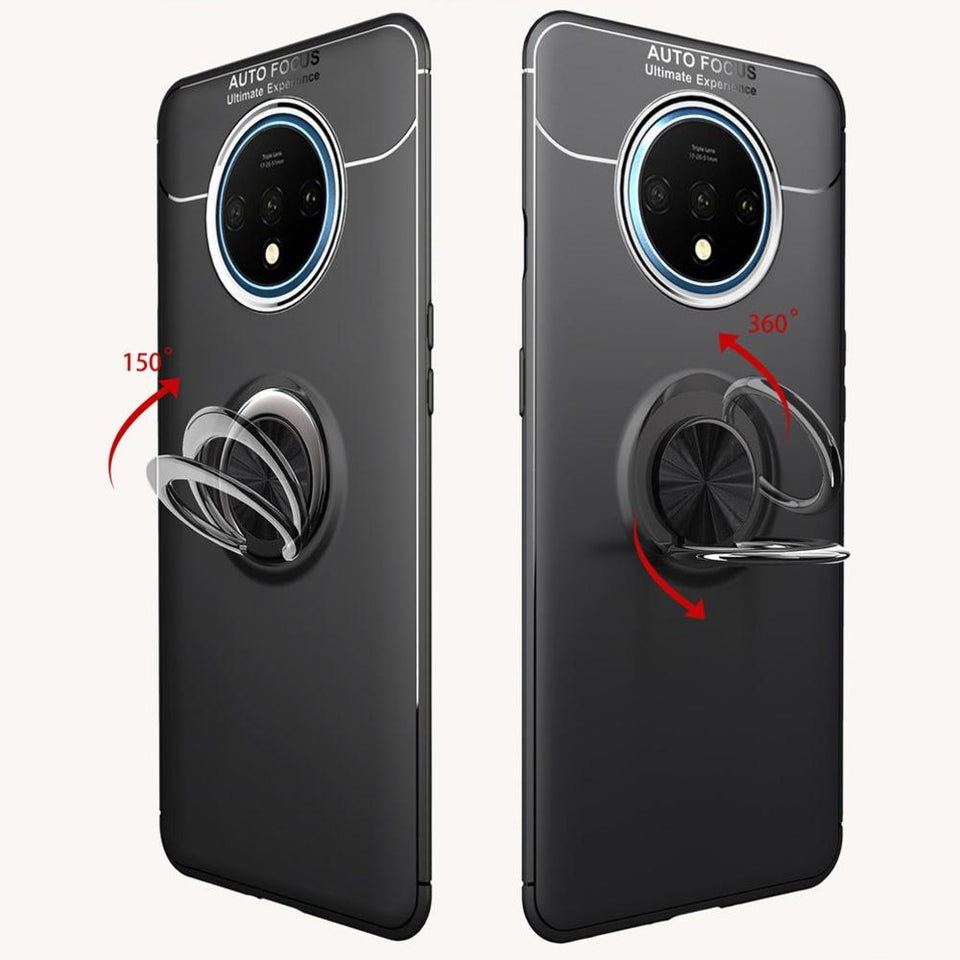 OnePlus 7T  (3 in 1 Combo) Metallic Ring Case + Tempered Glass + Earphones