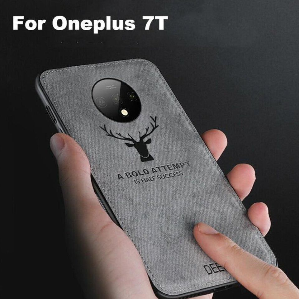 OnePlus 7T (3 in 1 Combo) Deer Case + Tempered Glass + Earphones
