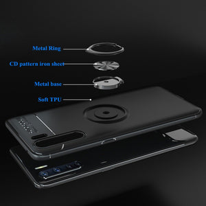 Oppo F15 (3 in 1 Combo) Metallic Ring Case + Tempered Glass + Earphones