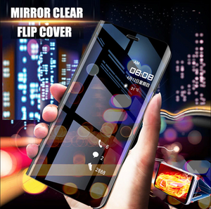 Oppo Realme 5 Pro Mirror Clear View Flip Case [Non Sensor Working]
