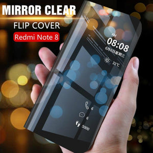 Redmi Note 8 Mirror Clear View Flip Case [Non Sensor Working]