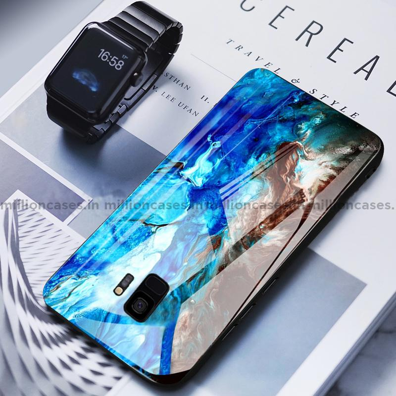Galaxy S9 Soothing Sea Pattern Marble Glass Back Case