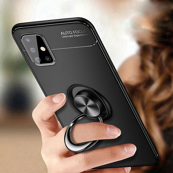 Galaxy A51 (3 in 1 Combo) Metallic Ring Case + Tempered Glass + Earphones