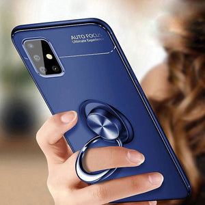 Galaxy A31 Metallic Finger Ring Holder Matte Case