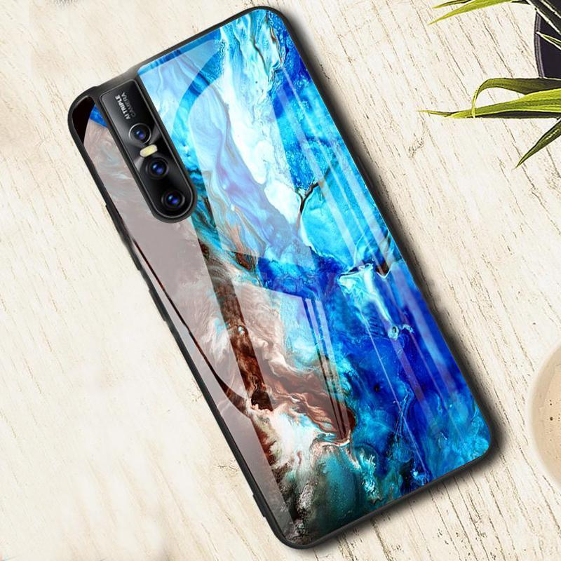 Vivo V15 Pro Soothing Sea Pattern Marble Glass Back Case