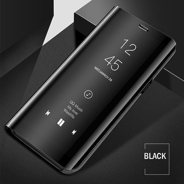 Vivo Y15 (3 in 1 Combo) Mirror Clear Flip Case + Tempered Glass + Earphones [Non Sensor]