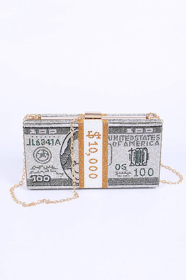 Crystal Pave Cash Stack Iconic Clutch  by LA Jewelry Plaza