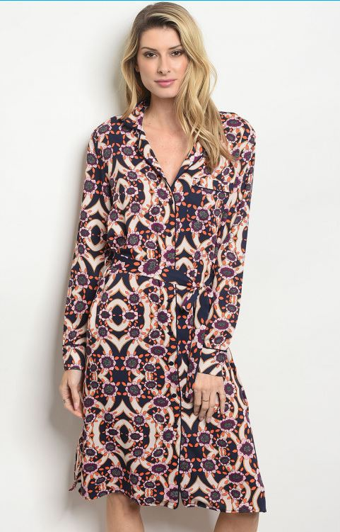 Long sleeve V-neck printed wrap style dress
