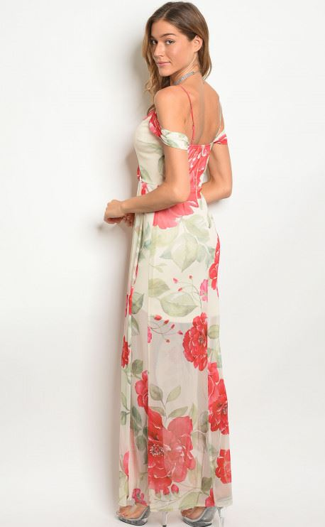 Sleeveless off the shoulder floral maxi dress