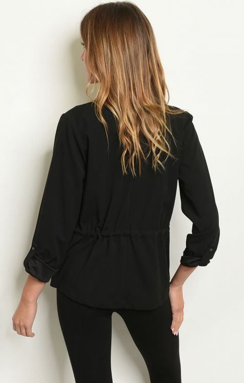 Long sleeve open front blazer