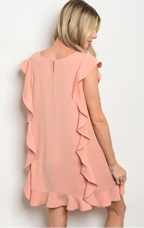 Sleeveless cascading ruffle detail tunic dress