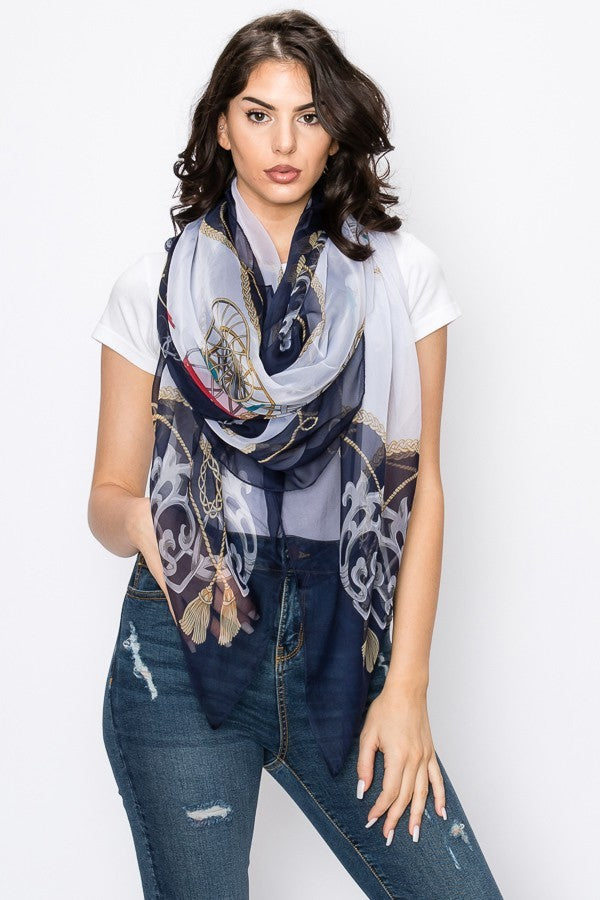 Print Scarf Silk Feel