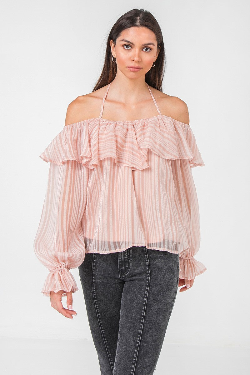 Ruffled Long Sleeve Woven Top by Salt & Pepper