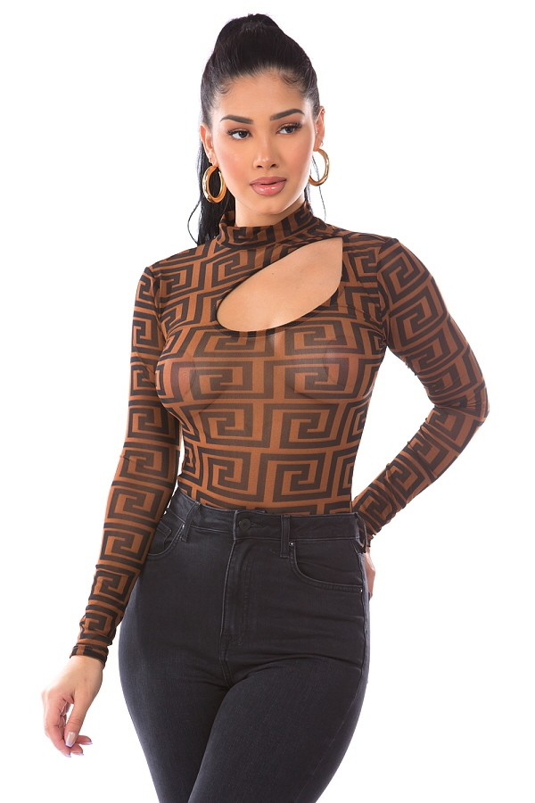 Geometric Sheer Mesh & Cutout Bodysuit  by Day G
