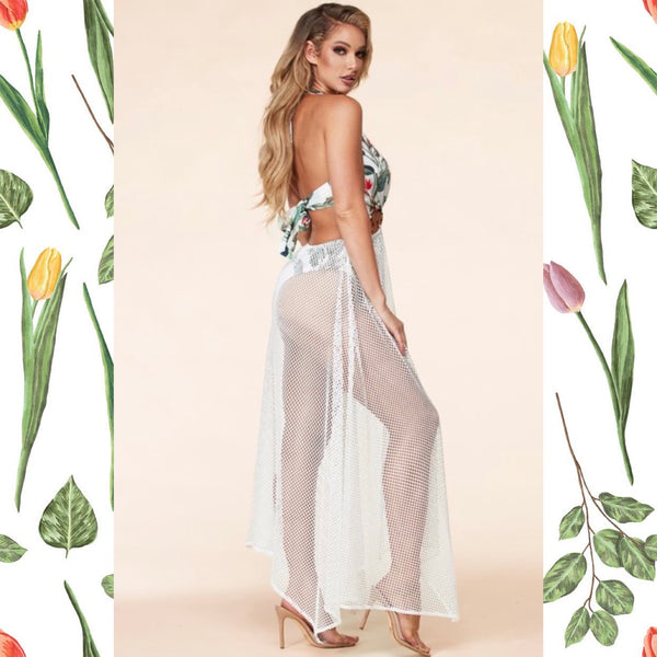 Beach Babe Tropical Print Swimsuit Maxi Dress