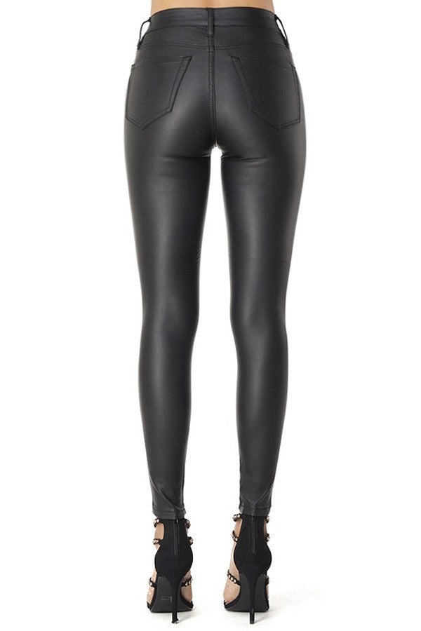 PU Leather Ankle Skinny Pants