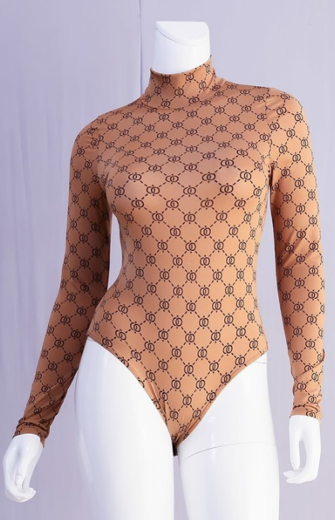 Mock Neck Print Bodysuit
