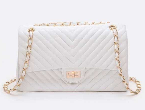 Chevron Quilted convertible turn look shoulder bag