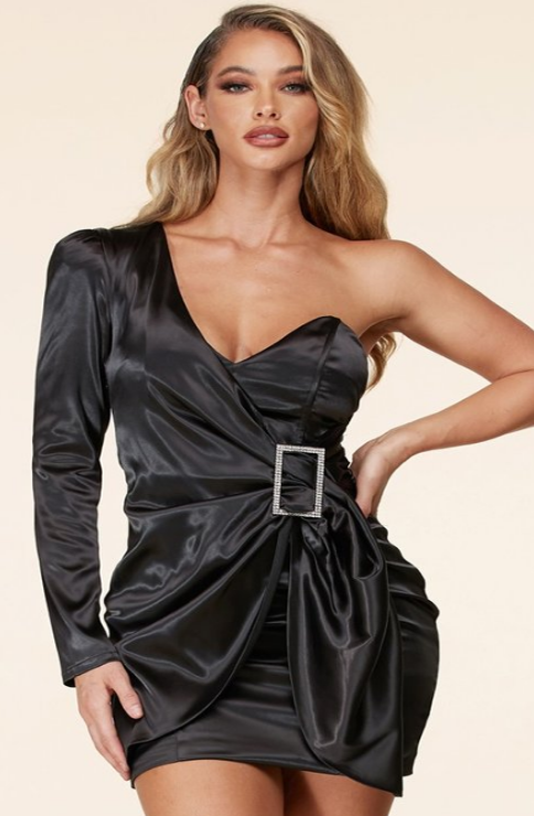 Vibrant black satin mini dress