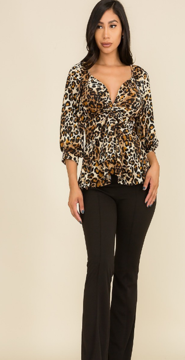 LEOPARD Blouse  PRINT 3/4 SLEEVE TOP