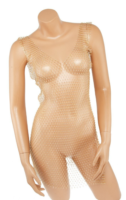 Rhinestone Fishnet Stretch Seamless cover-up