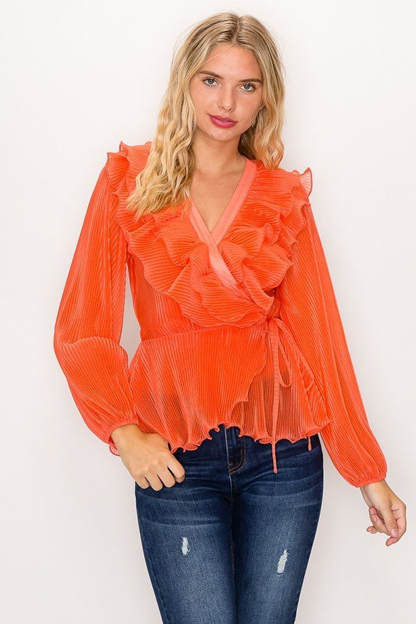 Semi Sheer Woven Pleated Top by Iris