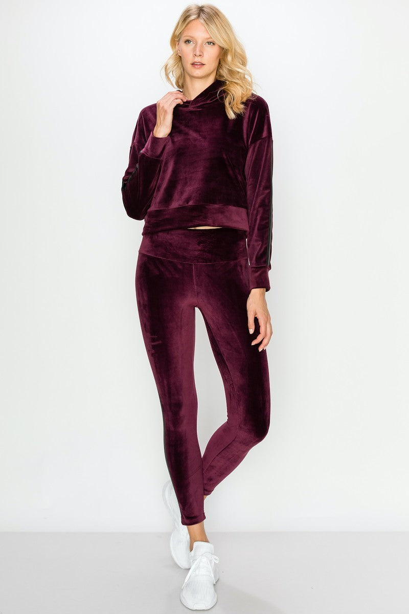 Cropped Velour Pullover Hoodie And Legging Set