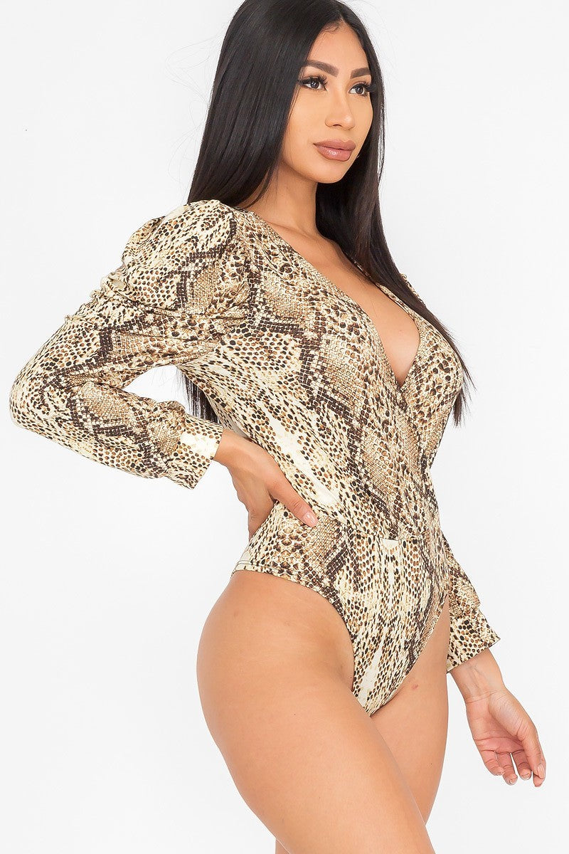 Snake Print Long Puff Sleeve V-Neck Bodysuit