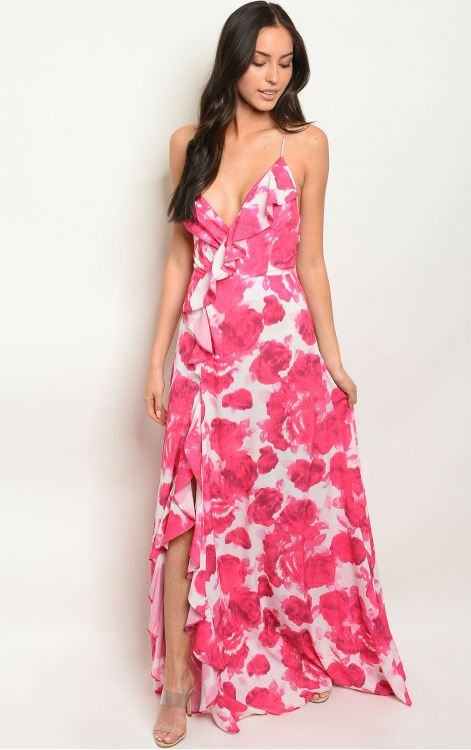 Fushia Sleeveless V-neck Floral Maxi Dress.