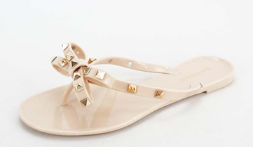 Flat Studded Sandals - Nude
