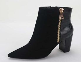 Black Zippered Bootie