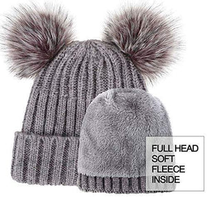 Cable Knit Beanie with Faux Fur Pompom Ears
