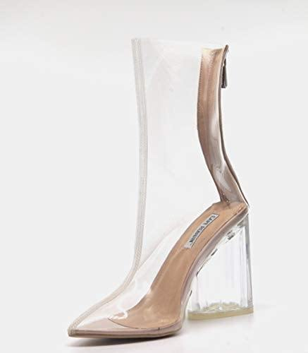 Crystal Glaze Clear Pointy Toe Chunky Heel Ankle Boots