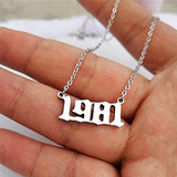 HUTINICE Birth Year Necklace Pendant for Women Girl, Gold Plated Friendship Old English Number Birthdate Necklace 1980-1989 Trendy Jewelry Birthday Gift 18 inch Chain