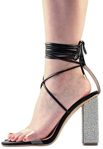 Bling Block Heel Lace Up Ankle Wrap Heeled Sandals - Shop Ja'Kai