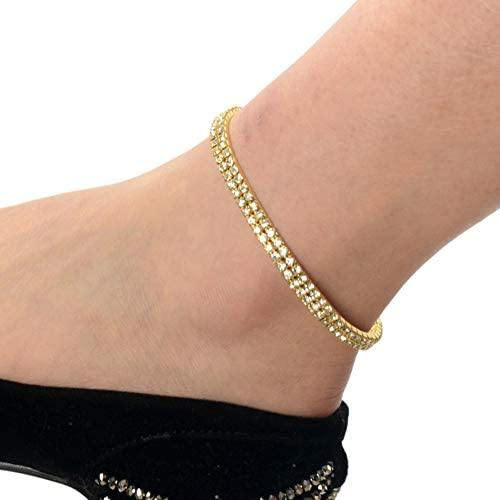 Crystal Rhinestone Stretch Tennis Ankle Elastic Bracelet - Shop Ja'Kai