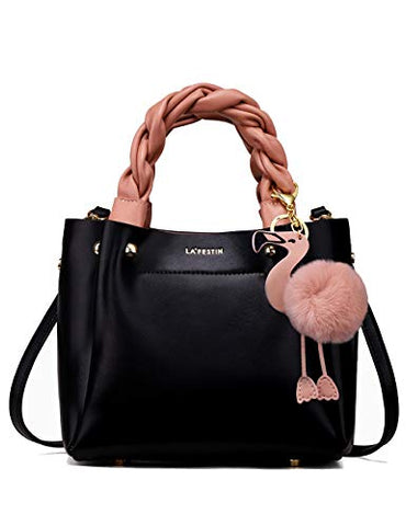 Leather Bucket Handbag with Cute Pink Flamingo (more colors) - Shop Ja'Kai