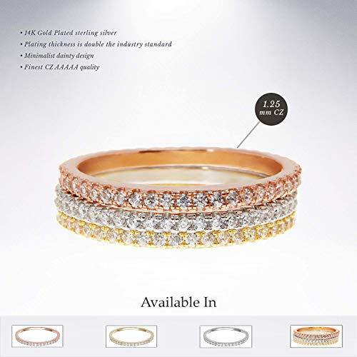 14K Gold Plated Sterling Silver CZ Simulated Diamond Stackable Ring - Shop Ja'Kai
