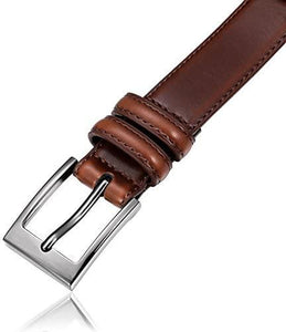 Genuine Leather Dress Belt with Single Prong Buckle