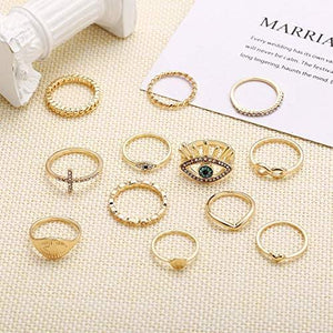 Dainty 14K Gold Plated Rings Set