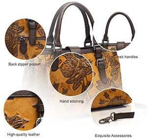 Embossed Floral Cowhide Leather Tote