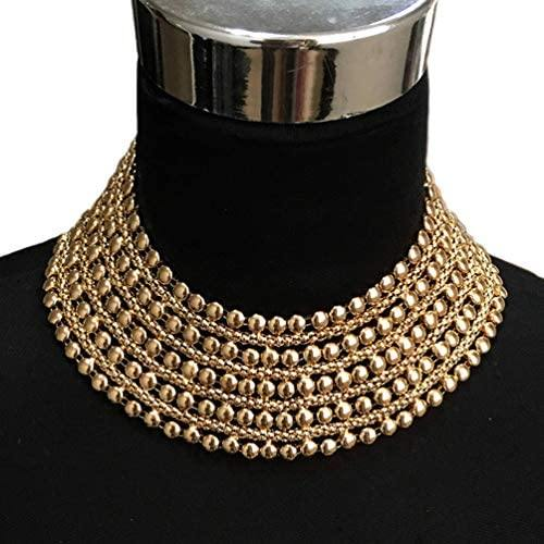 Chunky Metal Statement Necklace (Gold, and Silver)