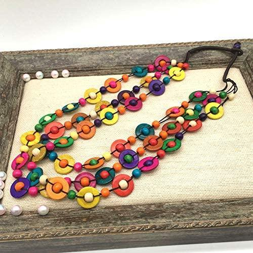 Multicolored Beaded Wood Layered Necklace - Shop Ja'Kai
